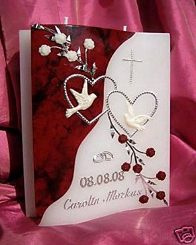 Hochzeitskerze Welle 200/150/40 mm inkl. Zubehör für selbstbeschriften VH-05
