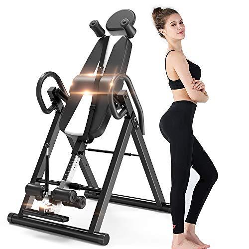 Yoleo Schwerkrafttrainer Inversionsbank klappbar Rückentrainer, volle vertikale Inversion 180° unterstützt maximal 136KG mit Kopfstütze Rückenkissen Schutzgürtel Körpergrößenskala (Schwarz)