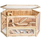 TecTake 403227 Hamsterkäfig aus Holz mit Zubehör, mehrere Etagen, aufklappbares Dachgitter, Schaufenster aus Plexiglas, herausnehmbare Schublade erleichtert die Reinigung, ca. 115 x 60 x 58 cm