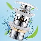 Universal Ablaufgarnitur mit Überlauf für Waschbecken & Waschtisch Chrom Pop Up Ventil Ablaufventil Ablaufgarnitur aus Messing von JTENG - Einfache Installation ohne Werkzeug
