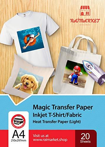 Transferpapier Bügelpapier für leichtes Gewebe (magisches Papier) von Raimarket   20 Blatt   A4 Inkjet Bügeleisen auf Papier / Transferfolie / T-Shirt-transfers   Textilefolien   DIY Stoffdruck  20