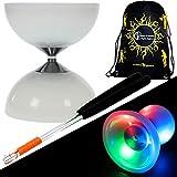 Juggle Dream 'LUNAR-SPIN' GLOW-LED Diabolo für Anfänger mit Diablo Alu Handstäbe und Diaboloschnur +Tragetasche! Jongliergeräte / Diabolo Für Kinder