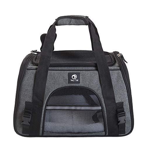 Haustier Transporttasche weiche Reisetasche für Hunde und Katzen trägerkäfig Fluggesellschaft zugelassen faltbare atmungsaktiv 44x25x28cm PHB440250GT