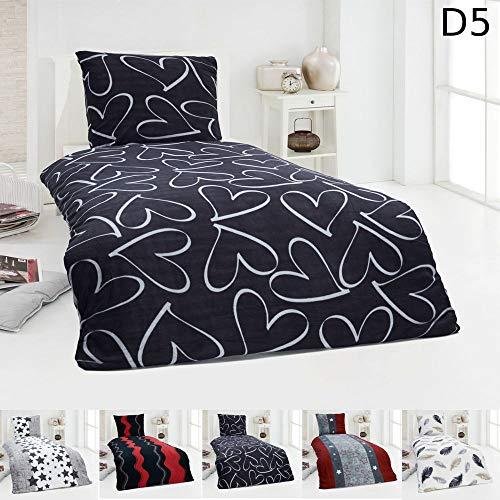 Dreamhome  Warme Winter Microfaser Thermo Fleece Bettwäsche 135x200 155x220 Bettbezug Modern, Maße:135 cm x 200 cm, Design - Motiv:Design 8
