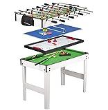 Leomark Multigame Spieletisch Billiard Hockey Tischtennis 4in1  Multifunktionstisch Multiplayer Inkl. Komplettem Zubehör Ab 8 Jahre