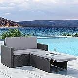 ArtLife Polyrattan Gartenmöbel Relax-Lounge schwarz und dunkelgraue Bezüge