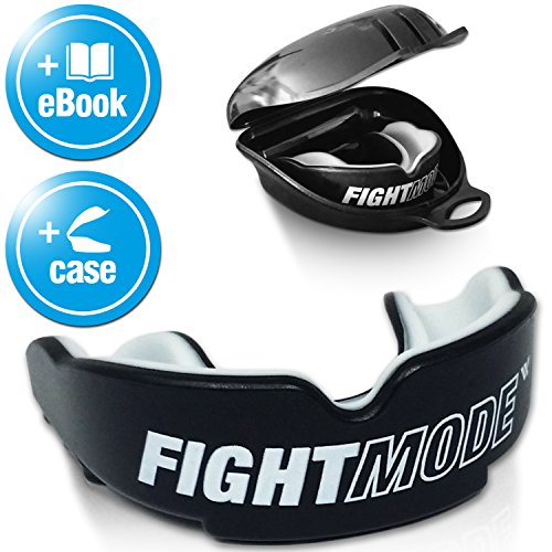 FIGHT MODE  Mundschutz + gratis Hygiene-Box + gratis eBook | Zahnschutz anpassbar, in schwarz für Erwachsene | die beste Wahl beim Kampfsport, Boxen, Kickboxen, MMA, American Football & Eishockey