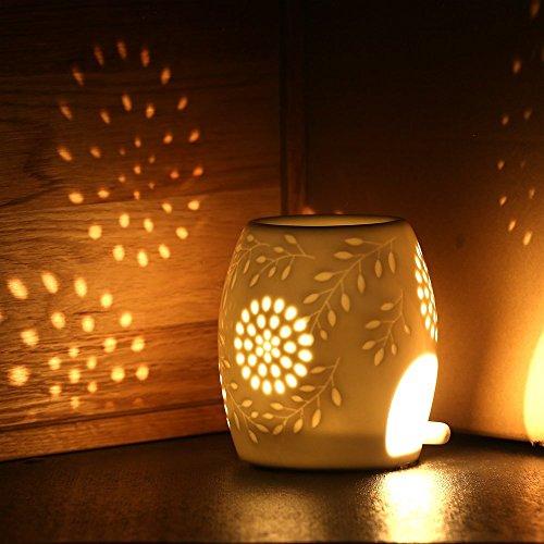 Ecooe Aromalampe Duftlampe aus Keramik weiß mit der Yankee Candle Löffel
