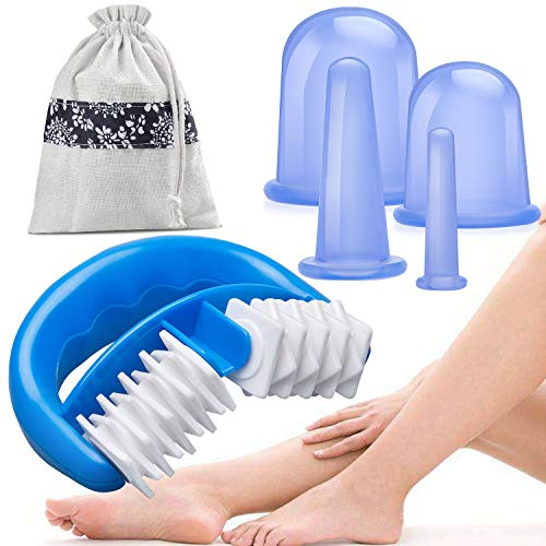 HBselect Silikon Schröpfen Therapie Set Cellulite Entferner Massagegerät mit einer Massage-Rolle und 4 Silikon Vacuum Tassen Schröpfgläser Anti Aging Anti Cellulite für Gesicht und ganzen Körper