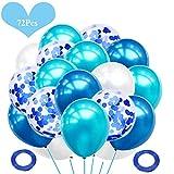 JWTOYZ 72 Stück Luftballons Grün / Blau / Rosa Weiß Konfetti Ballons mit für Geburtstag, Babyparty, Hochzeit (Blau)