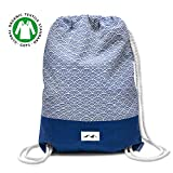 Santa Perago - Turnbeutel Fuji Blau aus 100% Bio Baumwolle   als Sportbeutel für Damen & Herren mit Reißverschluss   in 8 hochwertigen Designs