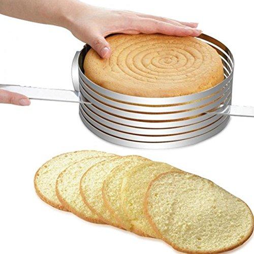 FANGff Tortenschneider, Tortenring, verstellbar, einziehbar, kreisförmiges Backwerkzeug, Mousseform, zum Schneiden von Kuchen und Zuhause 0.4 mm Thick Wie abgebildet