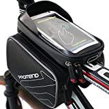 Fahrradtasche Rahmentaschen Wasserdicht, XBoze Fahrrad Handy Tasche mit Abnehmbar Handytasche (passend bis zu 6,2 Zoll) Radfahren Vorne Top Tube Rahmen Doppel Pouch für Mountain Bike (Schwarz)