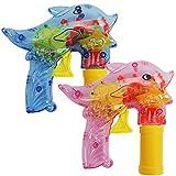 com-four 2X Seifenblasen-Pistole im Deflin-Design - Seifenblasenmaschine für Kinder - Seifenblasenpistole auch für Erwachsene (02 Stück - Delfin V2)