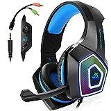 Gaming Headset für PS4, 3.5mm Surround Sound Kabelgebundenes Headset mit Mikrofon, Buntes LED-Licht, Kopfhörer für Laptop, Mac, Xbox One, Tablet, PC, Smartphone (Blau)