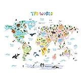 Decowall DLT-1615 Weltkarte Tierweltkarte Tiere Wandtattoo Wandsticker Wandaufkleber Wanddeko für Wohnzimmer Schlafzimmer Kinderzimmer (Extra Groß) (Englisch Ver.)