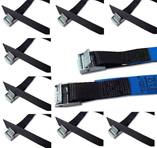 Befestigungsriemen-Set ideal zur Befestigung am Fahrradträger , Klemschloss Gurte , Spanngurte , iapyx (10er Set, schwarz)