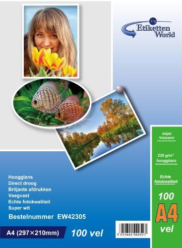 100 Blatt EtikettenWorld Fotopapier A4 230g/qm hochglänzend wasserfest