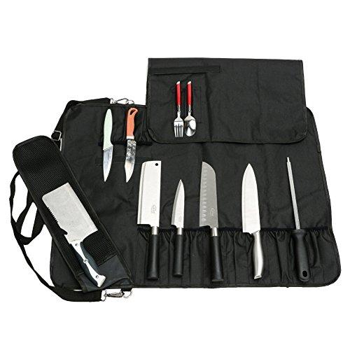 QEES Kochmesser-Rolle 17 Slots Schwarz Multifunktionale Messertasche mit Schulter Wasserdichte Oxford-Tuch Enge und waschbar DD14