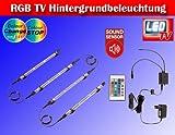 RGB LED Farbwechsel TV/Fernseher Backlight Hintergrund-Beleuchtung für 24-50 ZOLL (61-117cm) m. Soundsensor TG2338-161
