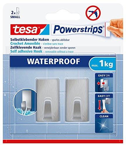 Tesa Powerstrips Haken (Waterproof Small Metall eckig) silber-matt