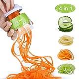 ACTOPP Spiralschneider 4 in1 manuell Gemüseschneider 3-Klingen in 1 Gemüseschneider Gemüsespaghetti Kartoffelschneider Spargelschäler Gurkenschneider Gemüsehobel für Karotte Gurke Kartoffel Zucchini