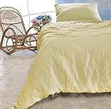 Leinen-Bettwäsche-Set Sintra 100% Leinen aus Portugal, Kissen 80x80cm und Bettbezug 135x200cm (vanille-gelb, 135x200cm)