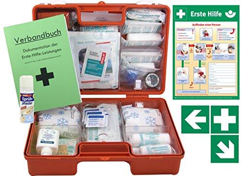 Erste-Hilfe-Koffer M5 PLUS für Betriebe DIN/EN 13157 Stand 2017 - Komplett-Paket incl. Notfall-Beatmungshilfe + Hände-Antisept-Spray + Verbandbuch + Aushang 1.Hilfe + Sprühpflaster