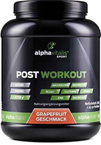 POST WORKOUT Shake mit Maltodextrin, Whey Protein, BCAA, Creatin, L-Glutamin, Magnesium uvm. - 1500g - Grapefruit - Die wichtigsten Nährstoffe nach deinem Workout! (Grapefruit, 1500g) EINWEG