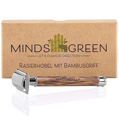 Minds4Green New Generation Rasierhobel mit schlankem Griff aus Bambus  ZERO WASTE Rasierer für Damen & Herren  PLASTIKFREI & NACHHALTIG  Set inkl. Klinge, Rasur- und Pflegeguide (Chrome)