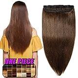 Clip in Extensions Echthaar Haarverlängerung Remy Echthaar 1 Tresse günstig Human Hair Haarverdichtung 55cm-100g(#4 Schokobraun)