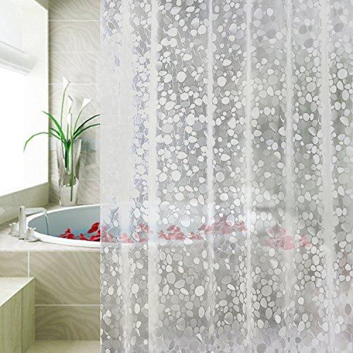 Duschvorhang Anti-Schimmel von Carttiya, EVA Wasserdichter Duschvorhang Transluzent Kieselsteine 180 x 180 cm, mit 12 Ringe, Weiß