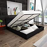 cangzhoushopping Kunstlederbett mit Gasdruckfeder Bettkasten 140 cm schwarz Möbel Betten Zubehör Betten Bettgestelle