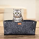 Premium Katzenbett von PiuPet inkl. Kissen | Passend als Decke für kleine Hunde | Hochwertiges Katzenbettchen in grau | Gemütliche Katzenhöhle
