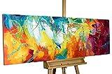 KunstLoft Acryl Gemälde 'Bright Future' 150x50cm | original handgemalte Leinwand Bilder XXL | Abstrakte Kunst in Pink Gelb Blau Regenbogen | Wandbild Acrylbild moderne Kunst einteilig mit Rahmen