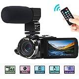 Videokamera, ACTITOP Kamera-Camcorder FHD 1080P 24MP IR Nachtsicht 3' LCD-Touchscreen-Camcorder mit externem Mikrofon und Fernbedienung