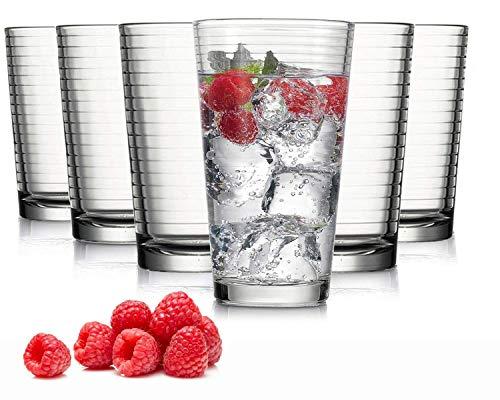 Tivoli Madrid Wassergläser - Set aus 6 - Hochwertige Gläser – Spülmaschinenfest – Kristallgläser (485 ml)