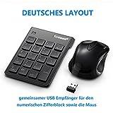 Coidak Ultra dünner numerischer Ziffernblock & Maus Kombi, 2,4G kabellose USB Numerische Pad Tastatur und Maus für Laptop Desktop-Notebook, mit Ein-/Ausschalter, nur ein gemeinsamer USB-Anschluss - schwarz