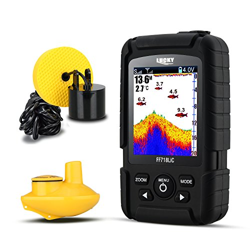 LUCKY Fishfinder 328 ft/100 m Tiefe Sonar Transducer 2-in-1 Wired & Wireless Sensor tragbar Wasserdicht