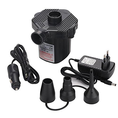 Likey Elektrische Luftpumpe, Elektropumpe 2 in 1 Inflate und Deflate AC 220V/DC 12V, 3 Aufsätze für Luftmatratzen,aufblasbare Matratze, Boot, Bett, Kissen,Schwimmring.