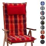 Homeoutfit24 Sun Garden Gartenstuhl-Auflage (120 x 50 x 9 cm) Sylt, Hochlehner Auflage mit abnehmbarem Kopfpolster in Rot kariert 1er Set