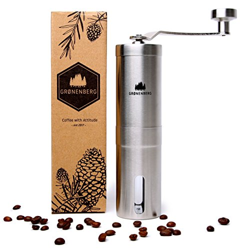 Hand-Kaffeemühle mit Keramik-Mahlwerk von Groenenberg | Manuelle Kaffeemühle | Espresso-Mühle | Edelstahl | Stufenlose Mahlgradeinstellung