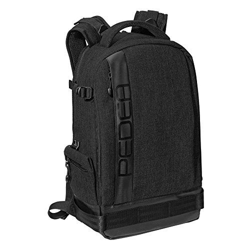PEDEA SLR-Kamerarucksack 'Fashion' Kameratasche Fotorucksack SLR Rucksack mit Regenschutz, variabler Inneneinteilung und Zubehörfächern, schwarz