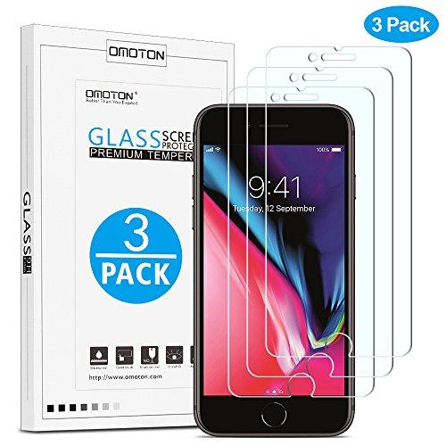 [3 Stück] OMOTON Panzerglas Schutzfolie für iPhone 8 Plus / iPhone 7 Plus, 9H Härte, Anti-Kratzer, Anti-Öl, Anti-Bläschen