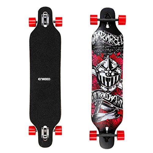 Enkeeo 40 inch Longboard - Skateboard Komplettboard Drop-Through Cruiser Board mit ABEC 11 High-Speed Kugellager (Sternhimmel)