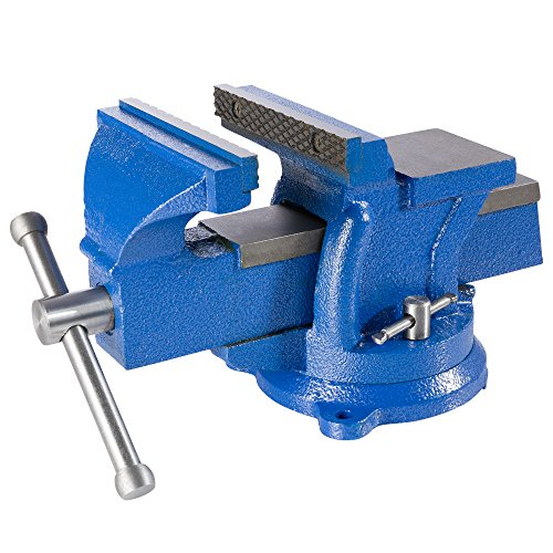 Arebos Schraubstock 100, 125 oder 150 mm / 360° drehbar / mit Amboss / blau (150 mm)