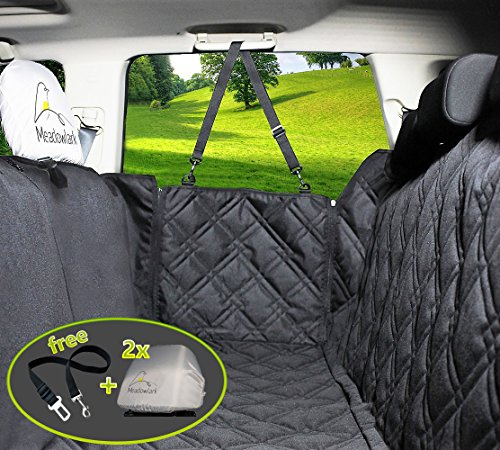 Hundedecke Auto für Rückbank. Wasserdicht! Komplettschutz - Comfort Hundedecke fürs Auto, robuste Reissverschlüsse für Seitenklappen zum Schutz der Türen, für Kopfstützen & Rücksitze. Wasserfeste Schondecke, ideale Autodecke für Haustiere, optimaler Sitzbezug. TOP-Qualität! Auf dem Rücksitz teilbar durch Reissverschluss. Mit der Decke für Hunde gibt es einen Sitzgurt & 2 Schonbezüge für Kopfstützen gratis!