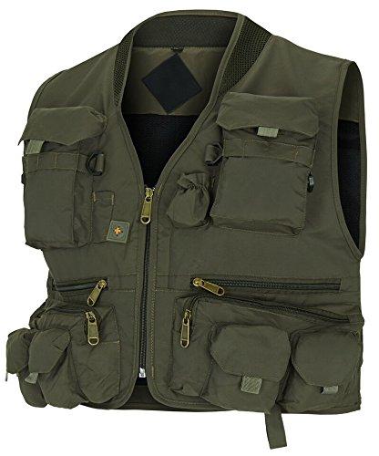 noorsk Jagd- und Anglerweste mit Vielen Praktischen Taschen, Superleicht Grün XL