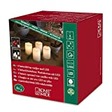 Konstsmide 1966-550 LED Dekoration 'rote Echtwachskerze' mit zerlaufener Wachsoptik/ für Innen (IP20) /  4er Set / Batteriebetrieben:  4xCR2032 3V (inkl.) / mit Schalter / 4 warm weiße Dioden