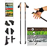 POWRX Nordic Walking Stöcke Carbon Light mit Handgelenkschlaufen (110 cm) | GRATIS - Nordic Walking/Fitness App
